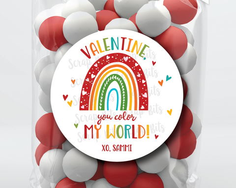 You Color My World . Rainbow Valentine's Day Stickers or Tags