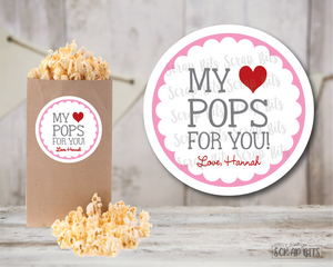 My Heart Pops for You Valentines . Valentine's Day Stickers or Tags