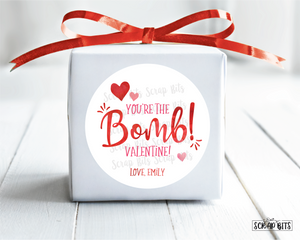 You're The Bomb . Bath Bomb Valentine's Day Stickers or Tags