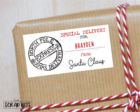 North Pole Express Special Delivery, From Santa Stickers . Rectangular Christmas Gift Labels