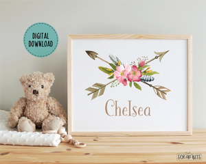 Boho Baby Name Nursery Art, Wild Roses & Arrows . Personalized Nursery Print . Digital Download