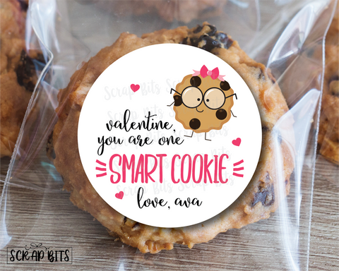 You Are One Smart Cookie Valentine,  Girl Cookie . Valentine's Day Stickers or Tags