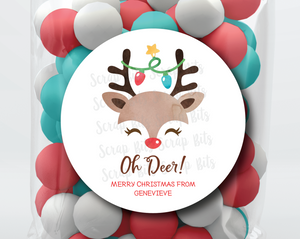 Oh Deer Stickers or Tags . Christmas Gift Labels