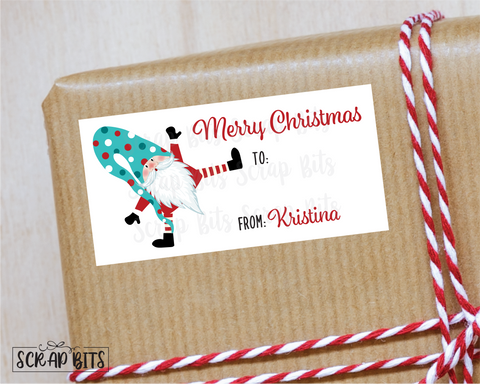 Happy Christmas Gnome Stickers . Rectangular Christmas Gift Labels