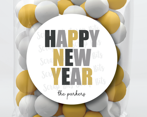 Happy New Year, Bold Lettering Stickers or Tags