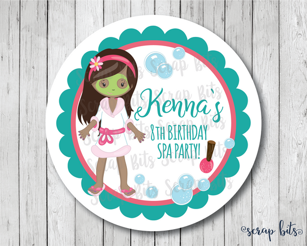 Spa Birthday Party Favor Stickers or Tags