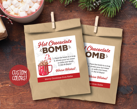 Hot Chocolate Bomb Christmas Gift Labels . Square Stickers or Printable Tags