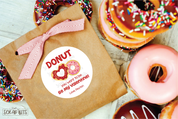 Donut You Want to Be My Valentine . Valentine's Day Stickers or Tags