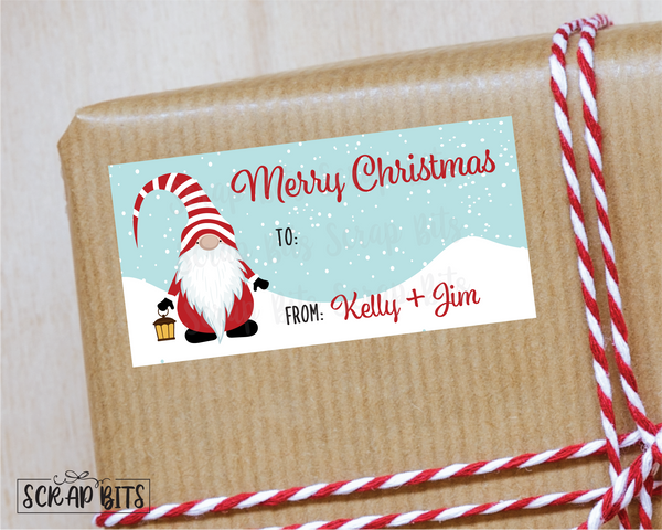 Christmas Gnome Stickers . Rectangular Christmas Gift Labels