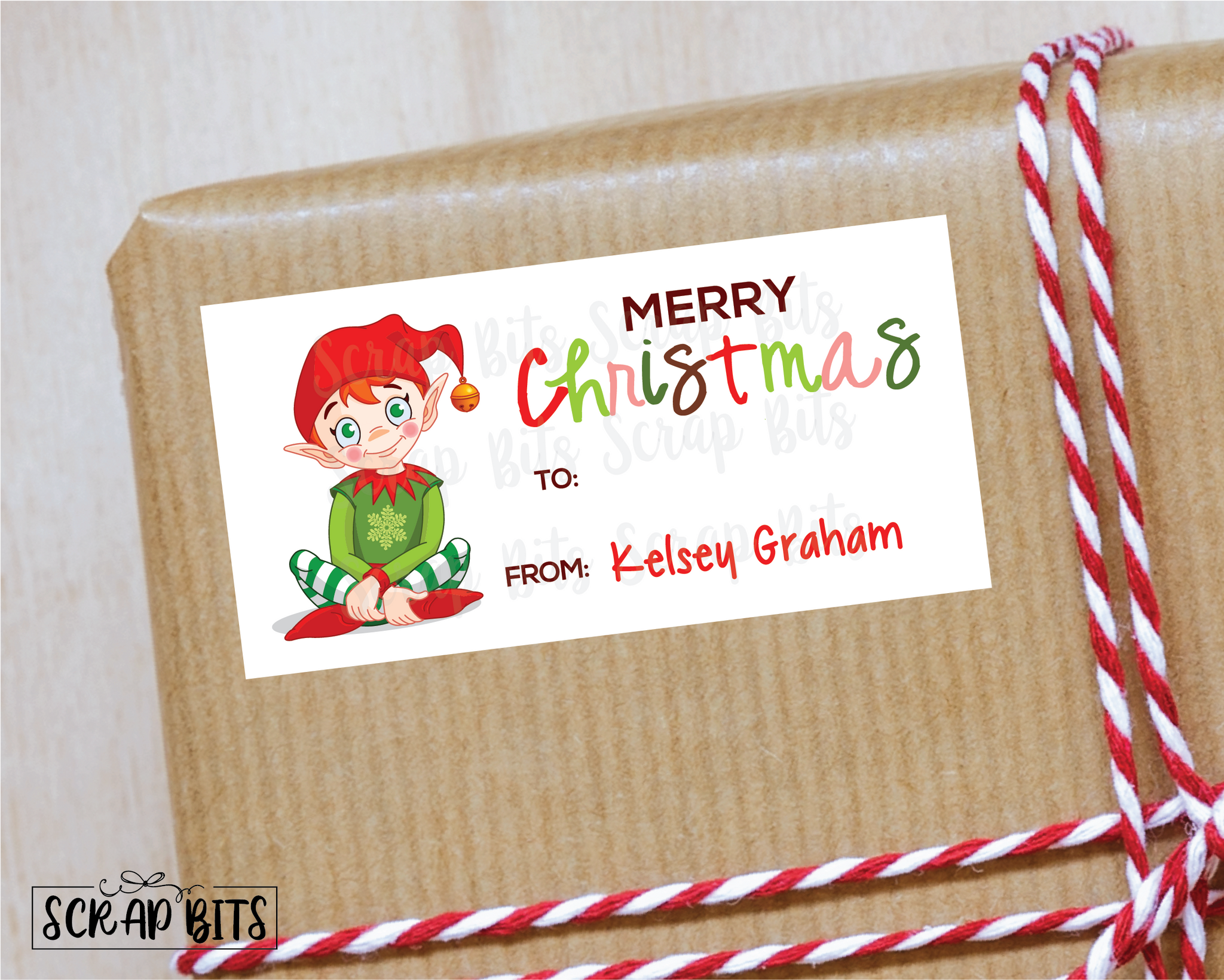 Christmas Elf Stickers . Rectangular Christmas Gift Labels