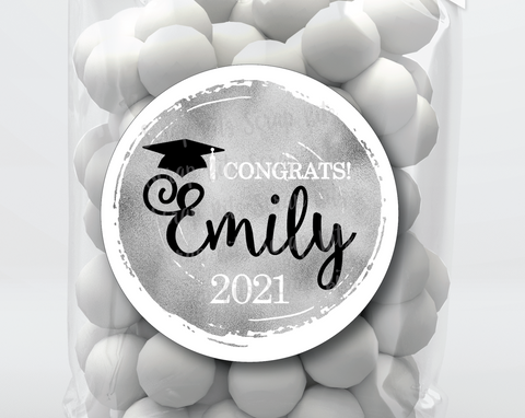 Faux Silver Foil Graduation Stickers or Tags