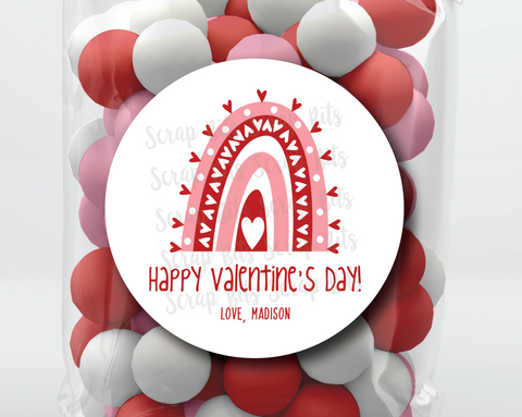 Heart Rainbow Valentine's Day Stickers or Tags