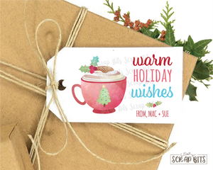 Watercolor Warm Holiday Wishes Tag . Personalized Christmas Gift Tags