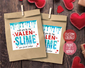 Will You Be My ValenSlime, Slime Valentines . Square Stickers or Printable Tags