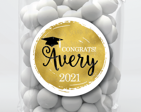 Faux Gold Foil Graduation Stickers or Tags