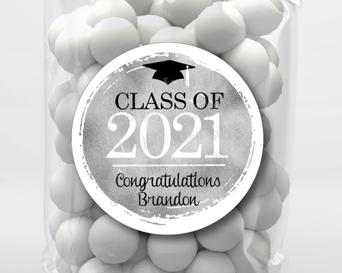 Class of 2021 Faux Silver Foil Graduation Stickers or Tags