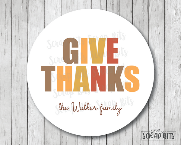 Give Thanks, Bold Lettering . Thanksgiving Stickers or Tags