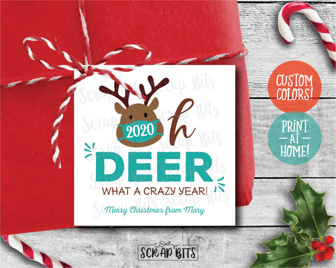 Oh Deer, What A Crazy Year Christmas Gift Labels . Square Stickers or Printable Tags