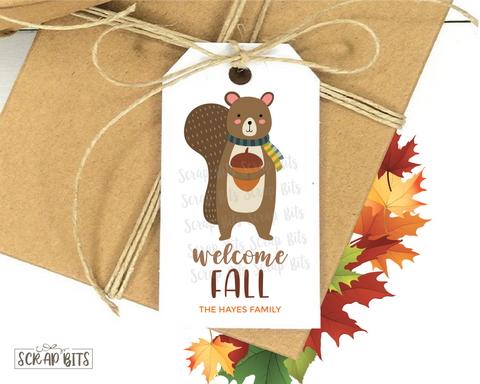 Welcome Fall, Squirrel With Scarf . Personalized Gift Tags