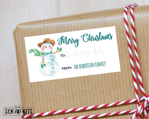 Christmas Snowman Stickers . Rectangular Christmas Gift Labels