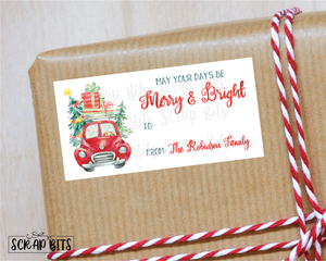 Christmas Car Stickers . Rectangular Christmas Gift Labels