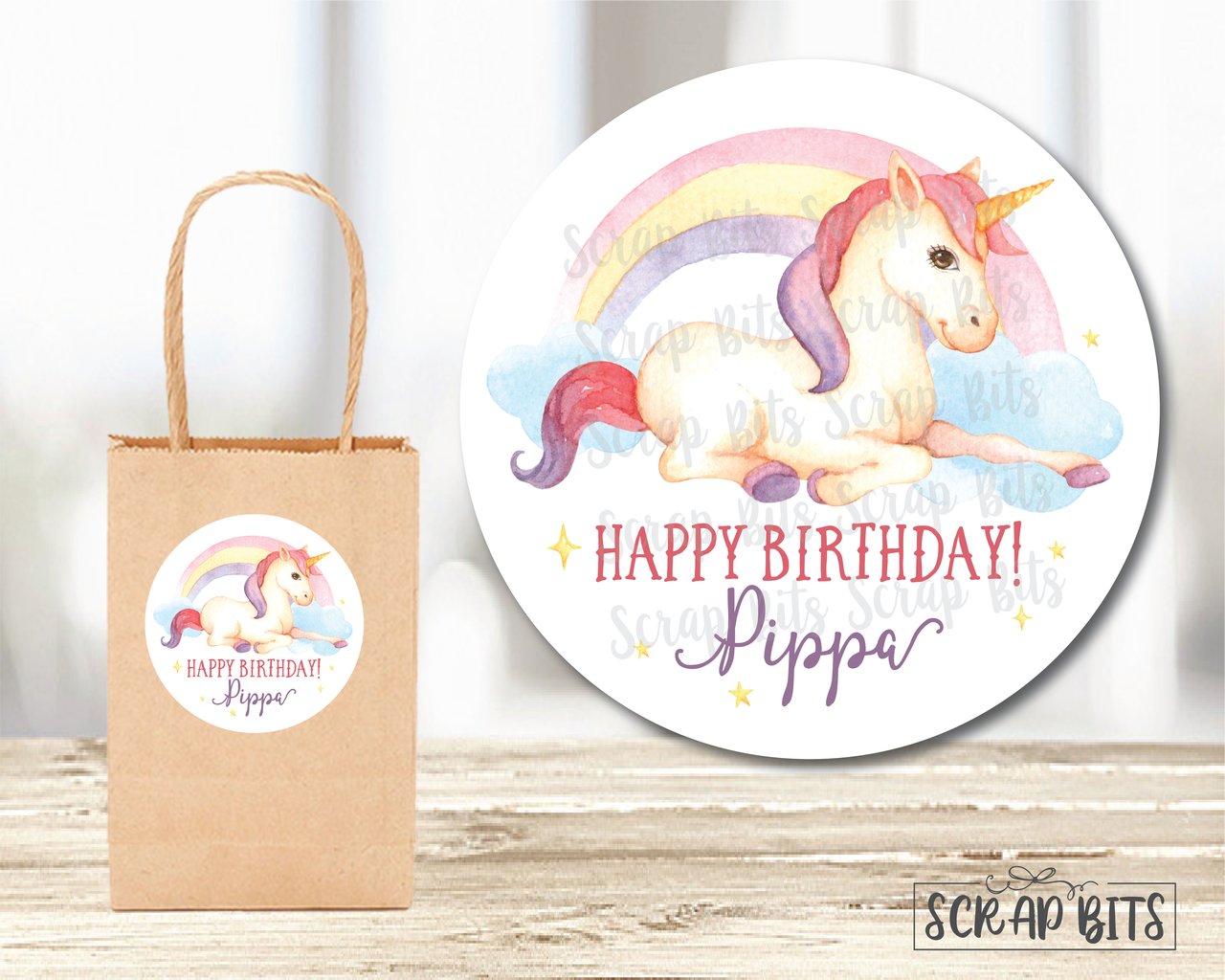 Watercolor Unicorn Birthday Party Favor Stickers or Tags