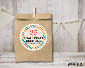 "Kraft ""Lunch Style"" Small Favor Bags . 3 1/2"" x 2 3/8"" x 6 7/8"""