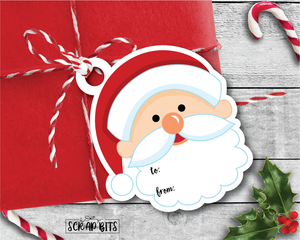 Die Cut Santa Tags . To From Christmas Gift Tags