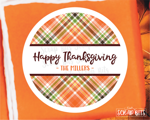 Thanksgiving Plaid Stickers or Tags