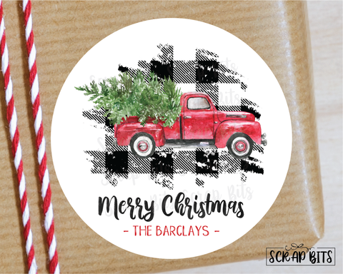 Buffalo Plaid Christmas Truck Stickers or Tags . Christmas Gift Labels