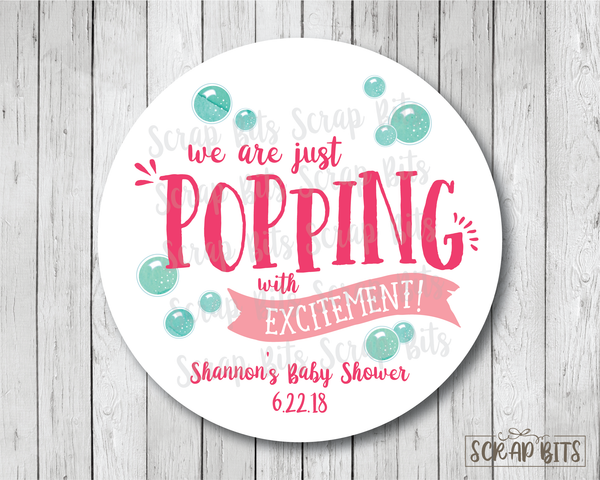 Popping With Excitement . Baby Shower Favor Stickers or Tags