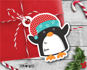 Die Cut Penguin Tags . To From Christmas Gift Tags