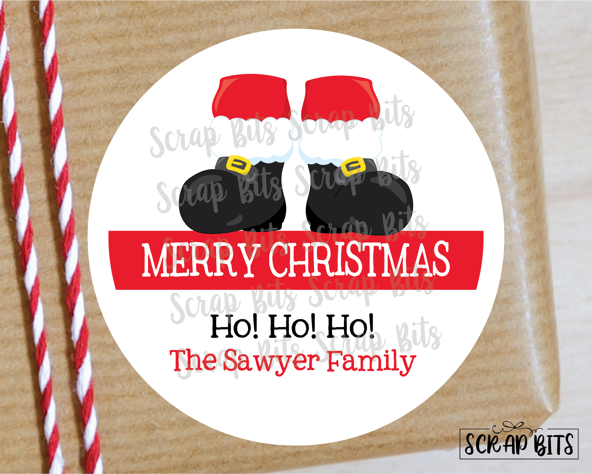 Santa Feet Stickers or Tags . Christmas Gift Labels