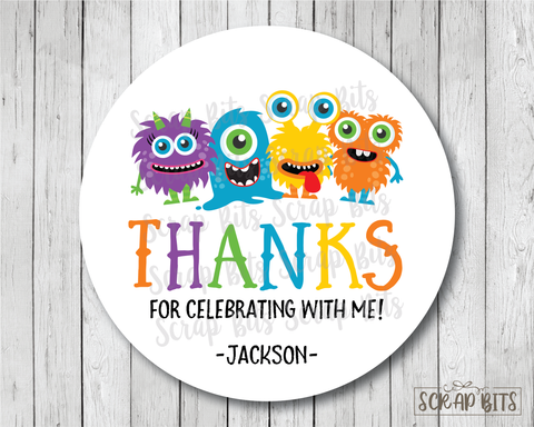 Monster Birthday Party Favor Stickers or Tags