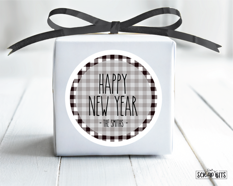Happy New Year Stickers or Tags, Simple Lettering on Buffalo Plaid