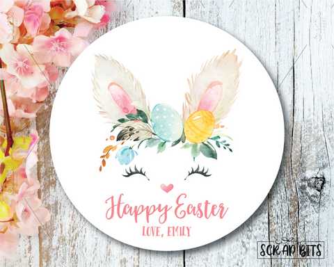Easter Stickers . Watercolor Easter Bunny Head . Personalized Easter Gift Labels