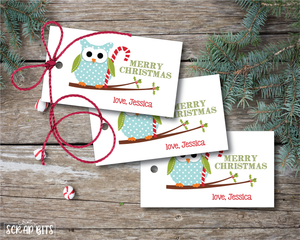 Owl with Candy Cane Tags . Personalized Christmas Gift Tags