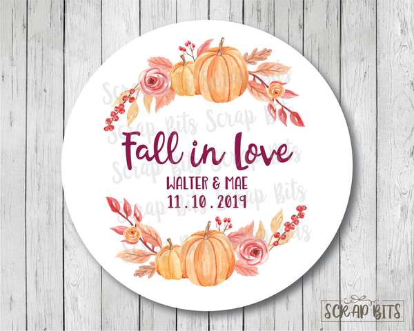 Fall In Love, Watercolor Pumpkin . Favor Stickers or Tags