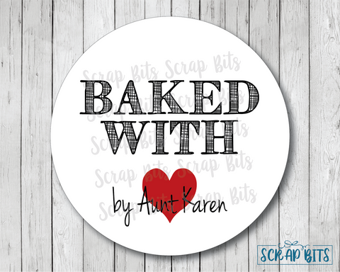 Baked With Heart Stickers or Tags . Baking Labels