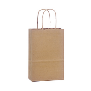 "Gift Bags with Handles (Kraft), Favor Bags . Rose Size . 5-1/4"" x 3-1/2"" x 8-1/4"" ."