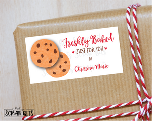 Freshly Baked Stickers, Chocolate Chip Cookies . Holiday Baking Labels
