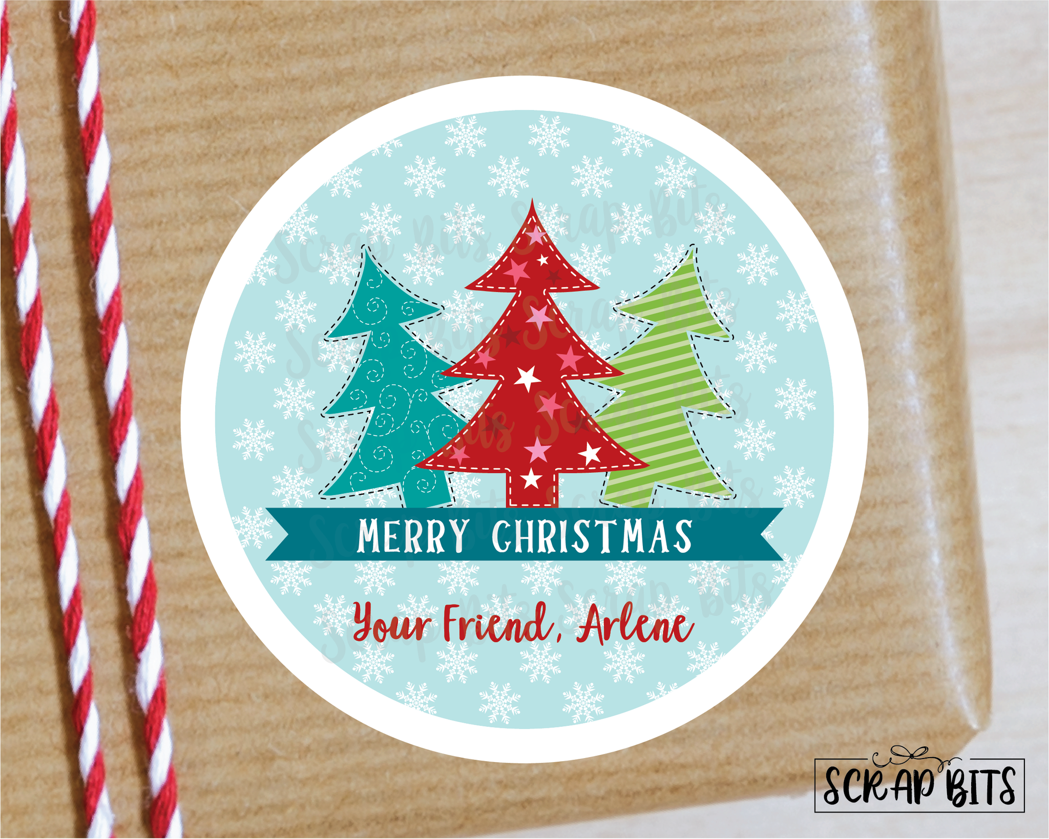 3 Christmas Trees Stickers or Tags . Christmas Gift Labels