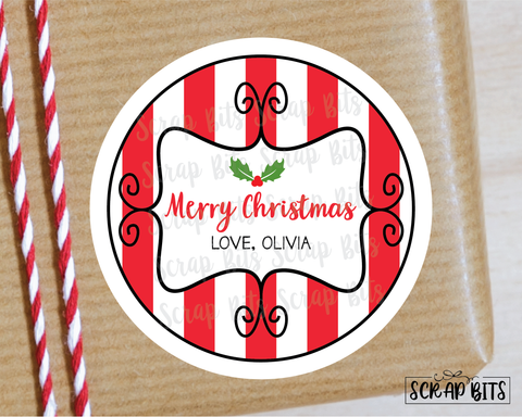 Curly Frame on Stripes Stickers or Tags . Christmas Gift Labels