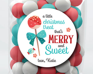 Merry & Sweet, Sweet Christmas Cake Pop Stickers or Tags . Christmas Gift Labels