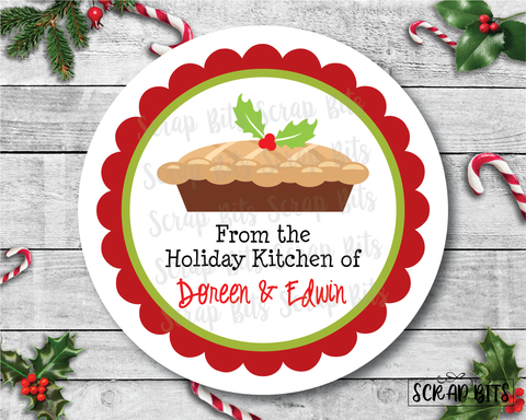 Christmas Pie Stickers or Tags . Christmas Baking Labels