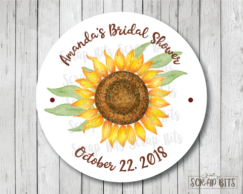 Sunflower . Favor Stickers or Tags