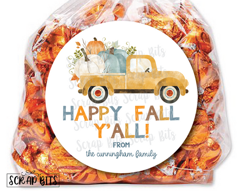 Happy Fall Y'All Yellow Pumpkin Truck Stickers or Tags