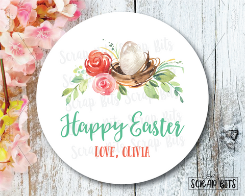 Easter Stickers . Watercolor Easter Floral Nest . Personalized Easter Gift Labels