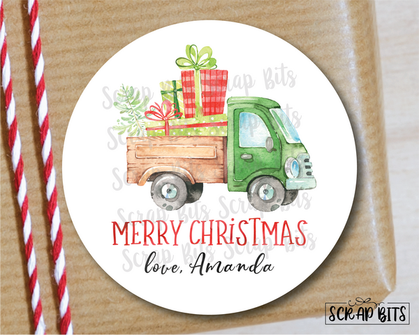 Christmas Farm Truck Stickers or Tags . Christmas Gift Labels