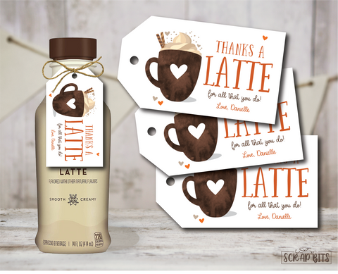 Thanks a Latte For All That You Do, Fall Latte Tags . Personalized Gift Tags
